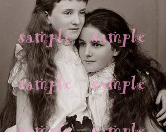 instant DIGITAL Download VINTAGE RARE photograph Beautiful Victorian Sisters Edwardian Little Girls