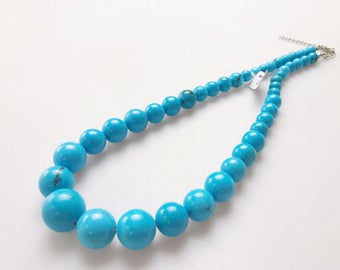 Genuine Magnesite Turquoise Graduated Round Loose Beads Size 8-18mm 15.5'' Long