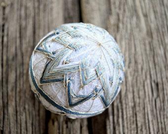 Hand Embroidered Japanese Temari Ball, Blue and Silver Temari, Traditional Hand Embroidery, Kiku Temari, Japan Folk Art Ball Grey Blue Snow