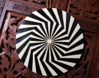 "6.5"" Psychedelic Mandala Wall Hanging - Pyrography Art, Spiritual Wall Art, Sacred Geometry Art, Bohemian Wall Art, Mandala Wall Art"