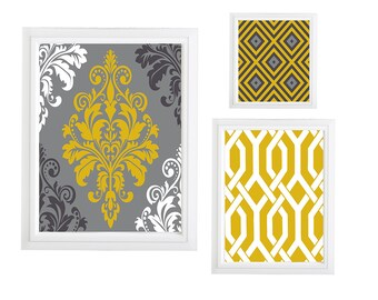 Collage Wall Art Gallery - Set of (3) - Prints - Custom CHOOSE your own size!!! Damask Mustard Yellow Grey Black Art Wall unframed