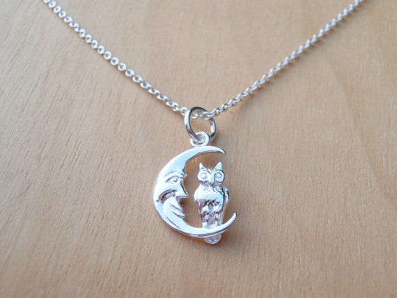 Children's Necklace With Silver Moon & Owl - Sterling Silver