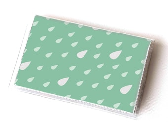 Vinyl Card Holder - Summer Rain1 / card case, snap, vinyl wallet, women's wallet, small wallet, raindrops, green, clouds, cute, kids, happy