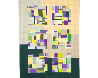 """Art Quilt, Quilt Art, Wallhanging. Motif #13. 52""""H x 37""""W. Pieced and quilted in 100% cotton, hanging sleeve."""