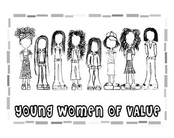 """Young Women Values Coloring Sheet - YW Value Girls 8.5""""x11"""""""