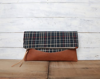 Fold over clutch bag, Kimono clutch bag, brown leather clutch bag, ikat fold over clutch bag, ikat, clutch, gift for her, carryall clutch
