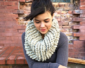 Oversized Super Chunky Cowl Snood Hood Scarf - Oatmeal - MADE TO ORDER