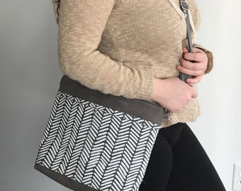 Grey crossbody bag, waxed canvas bag, Arroyo fabric crossbody bag