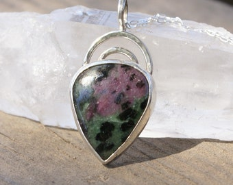 Ruby in Zoisite Necklace Pendant Artisan Sterling Silver