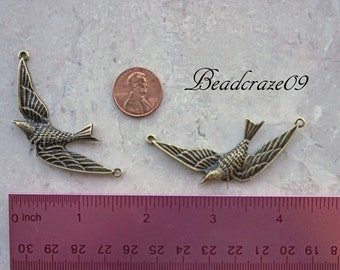 4 or 8 Pieces Antique Bronze Dove Link, Swallow Connector, Sparrow