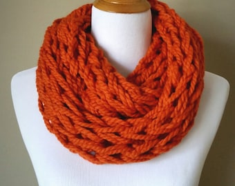 Orange Knit Infinity Scarf