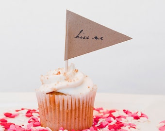 Love Notes Cupcake Pennants - Set of 10
