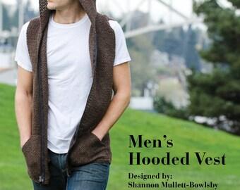 Men's Hooded Vest Crochet Pattern - Instant Digital Download