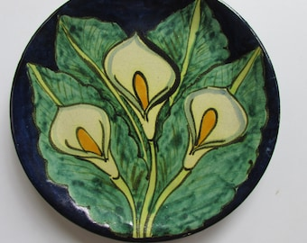 Mexican Pottery Plate Handpainted Decorative Bright Vivid Colors