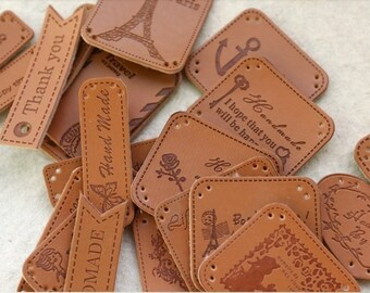 Lot of 24 pcs Random Mixed Types leather Decoration label/ Indentation garment Appliques handmade diy accessory