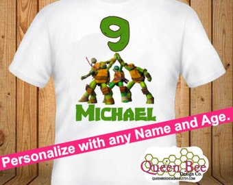 TMNT Birthday Shirt - kids Birthday Shirts - Personalized Shirts - Custom Shirts - Kids - Birthday Shirts-