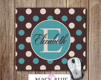 Personalized Mouse pad, Monogram Mousepad, Cute Desk Accessory, Office Accessories, Polka Dots Mouse pad