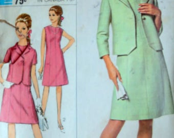 Vintage 60's Simplicity 6922 Sewing Pattern, Misses' Dress & Jacket, Size 14, 34 Bust, Mad Men Mod 1960's Designer Fashion