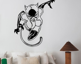Catwoman Wall Art Decal Vinyl Sticker Comics Superhero Decorations for Home Housewares Living Room Bedroom Kids Girls Room Decor ctw11