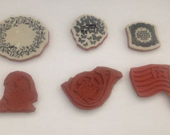 Stampin' Up!  lot Of 6 Loose Clear Mount Rubber Stamps
