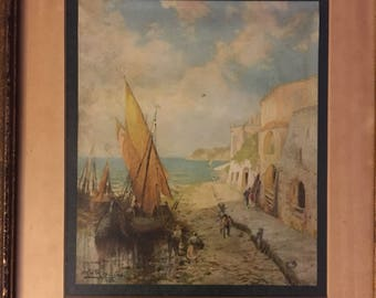 Vintage professionally framed print ship-shabby chic nautical