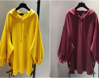 2018 Spring New Korean Loose Hooded Oversized Sweater Women's Long Solid Color Jacket Bat Sleeve