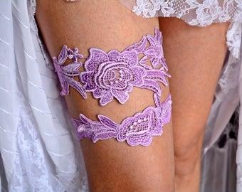 Garter Set Levander, Wedding Garter, Lace Garter Lavender, Wedding Garter Set, Purple Garter Set, Garter For Brides Garter Set, Lilac Garter