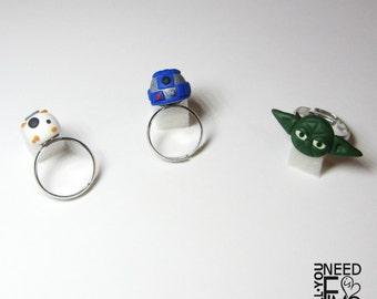 Inspired Star wars ring|inspired bb8 ring|inspired yoda ring|inspired r2d2 ring|fimo ring|adjustable ring|inspired jedi ring|nerd ring