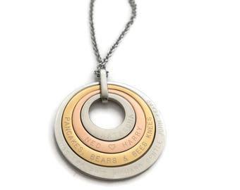 80th Birthday Gift For Grandma, Birthday Gift For Her, 4 offset Necklace, Birthday Jewellery, 80th Keepsake Names Personalised Nanny nana
