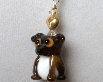 Brindle Boston Terrier Beagle Mix Gold Heart Lampwork Necklace OOAK