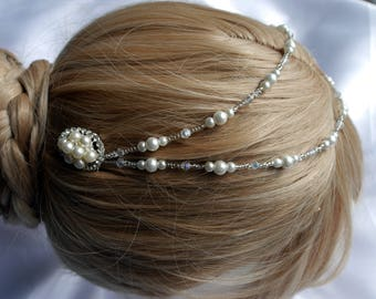 Pearl and Diamante hair chain, Bridal Cream pearl head chain, Diamante and pearl hair vine accessory, Wedding Brides Cream pearl hair piece