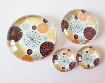 "Lot 4 theme ""RETRO - dots"" (craftsmanship) cabochons 12mm / 20mm / 25mm"