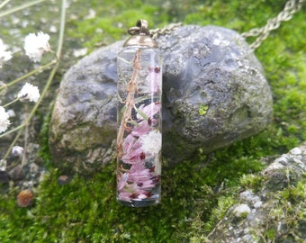 Heather Jewelry - Resin Pendant - Gifts For Her - Pink Flower Pendant - Pressed Flower Necklace - Nature Jewelry - Real Flower Necklace
