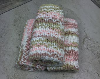 Pink knit washcloth / knit dishcloth / natural skin care / eco friendly gift / hostess gift / gifts for her / washcloth set / skincare /
