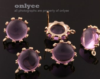 1pair/2pcs-10mm Gold plated Brass,Faceted Round Glass Earring, post earrings-Lavender(M340G-H)