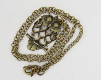 Vintage Jewelry Brass Owl Moveable Pendant Chain Necklace 34''