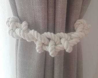 Nautical Curtain Tie Backs 2 pcs Nursery Curtain Tie Back, Rope Curtain Tie Backs, Curtain Holdback, Curtain TieBacks, Sea Knots Curtain Tie