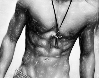 Skater Boy Gay Art Male Art Print by Michael Taggart Photography muscle muscles muscular strong abs torso black and white cross necklace