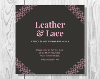 Black and Pink Lace Bridal Shower Invitation - Printable