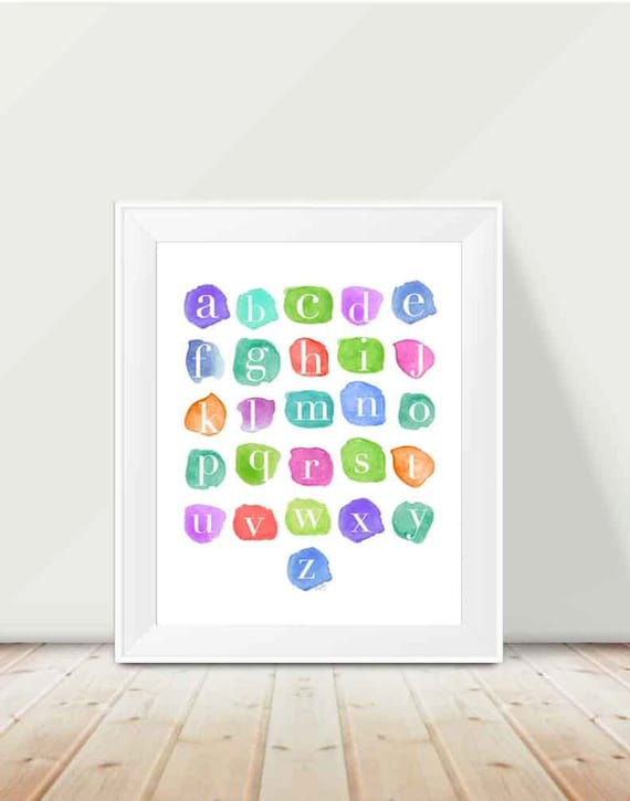 Alphabet Print with Watercolor Swatches, 11x14