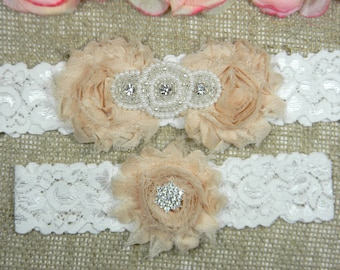 Champagne Wedding Garter Set, Wedding Garter, Lace Bridal Garter Set, Keepsake Garter, Toss Garter, Pearl and Crystal Rhinestone Garter Sets