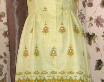 Alfred Shaheen Dress CLEARANCE Yellow and Brown Print 60s Vintage
