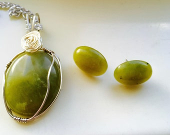 Serpetine Necklace, Silver Pendant, Green Pendant, Green Jewelry Set