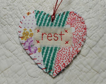 Wordz From the Heart Snippet Ornament - REST - Stitched From Recycled Vintage Quilt Piece