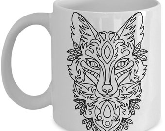 Wild Fox Coffee Mug - Animal Gift - Psychedelic Abstract Art Trippy Tea Cup