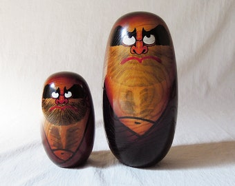 Vintage Japanese Wooden Daruma Round Doll Set Of 2