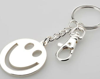 2 pieces-Keychain happy, smiley with additional carabiner silver plated