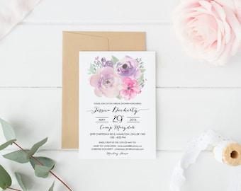 Bridal, Shower, Invitation, Floral, Watercolour, Simple, Classic, Black, Pastel, Greenery, Wedding, White, Flowers