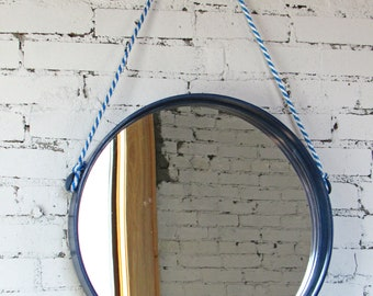 22''x3'' Circular Oak Mirror with Blue Stain
