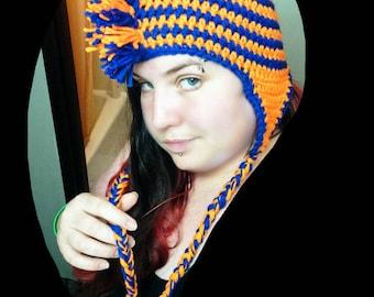 Crocheted Fleece Lined Mohawk Ear Flap Hat